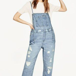 Zara Distressed Straight Leg Cropped Overalls S